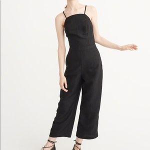 Abercrombie culotte Black linen jumpsuit wide leg